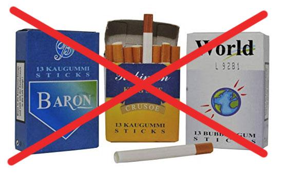 NEIN zu Kaumgummi-Zigaretten!
